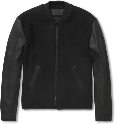 Alexander Wang Wool Blend and Nubuck Bomber Jacket in Black for Men