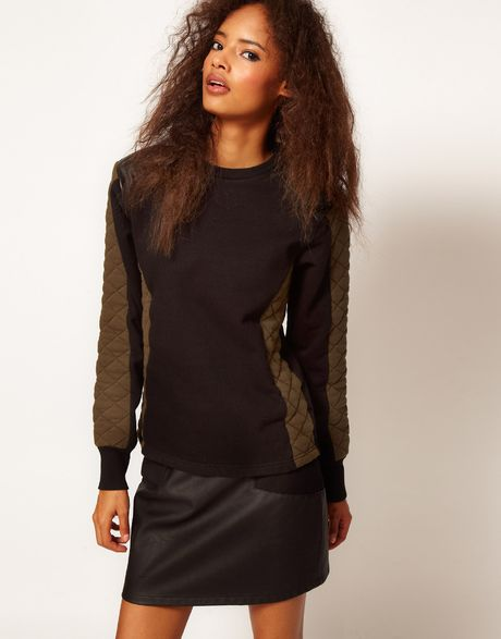 Asos Collection Sweatshirt with Padded Sleeve in Black - Lyst