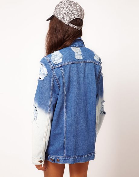 Asos Collection Oversized Denim Boyfriend Jacket with Rips and Bleach Detail in Blue (multi) - Lyst