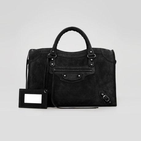 Balenciaga Baby Daim Suede Classic City Bag Black in Black (noir)