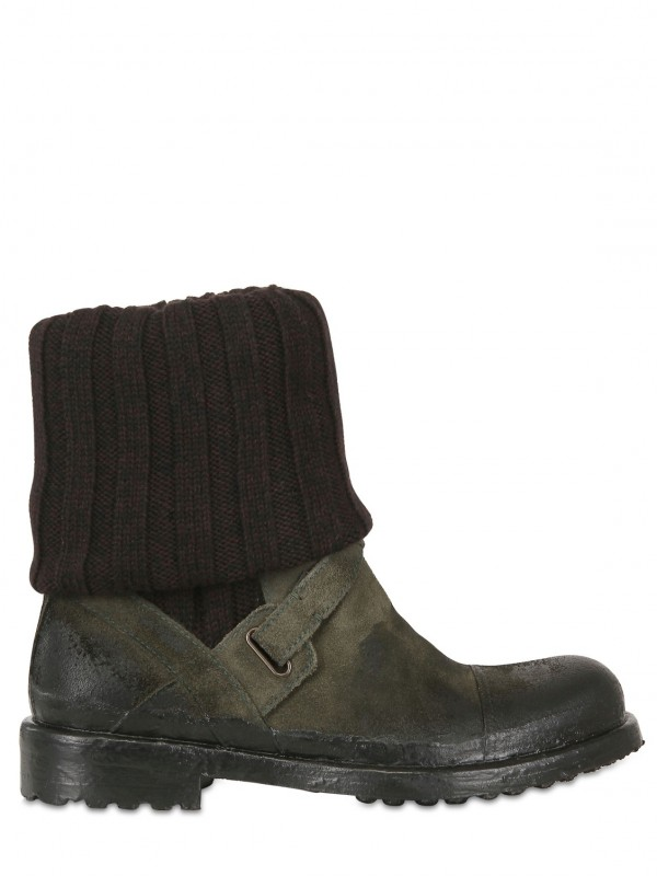 Dolce Amp Gabbana Ribbed Wool Crust Spietro Low Boots In