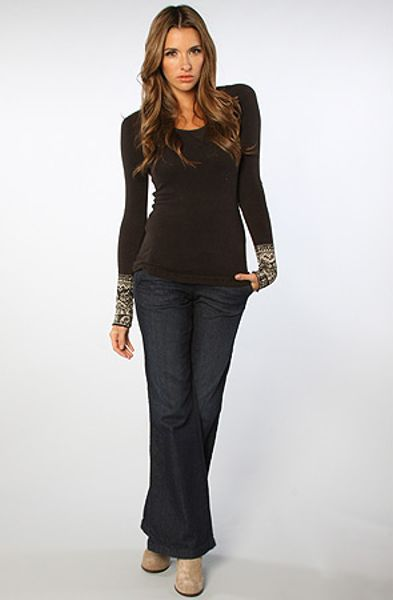 Free People The Hyperactive Cuff Newbie Thermal in Black in Brown
