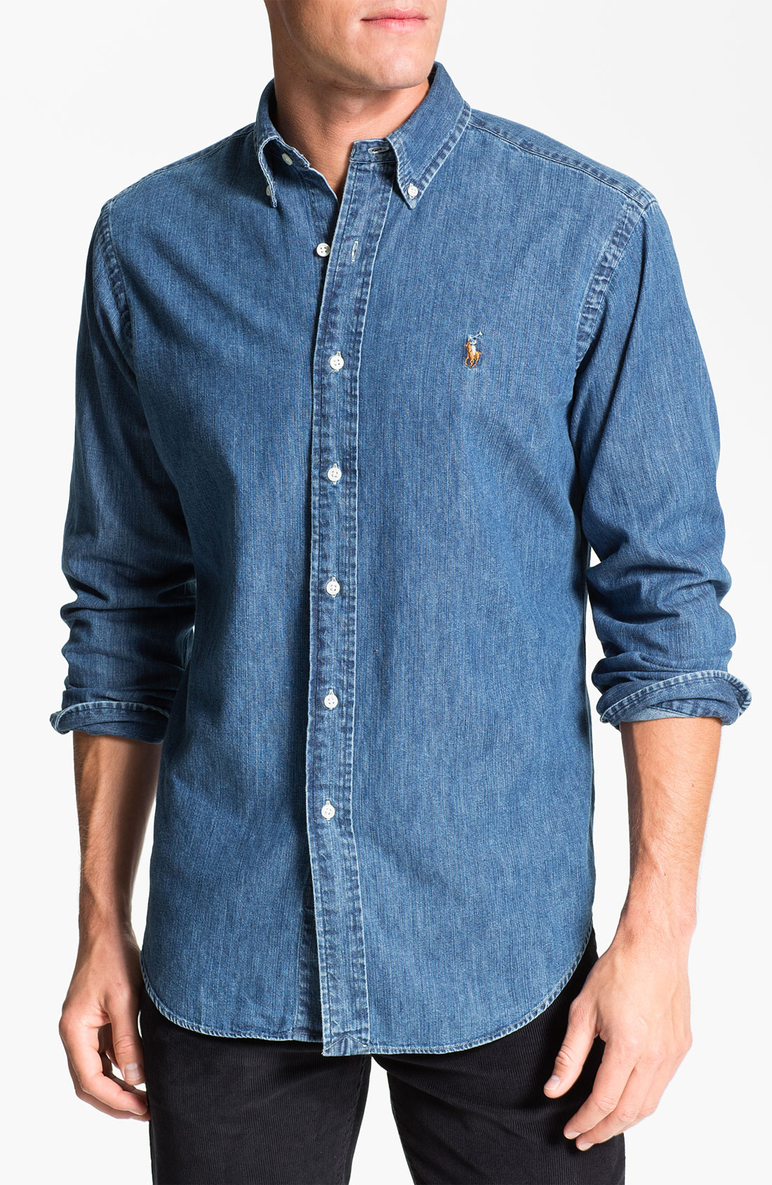 polo ralph lauren classic fit denim sport shirt in blue