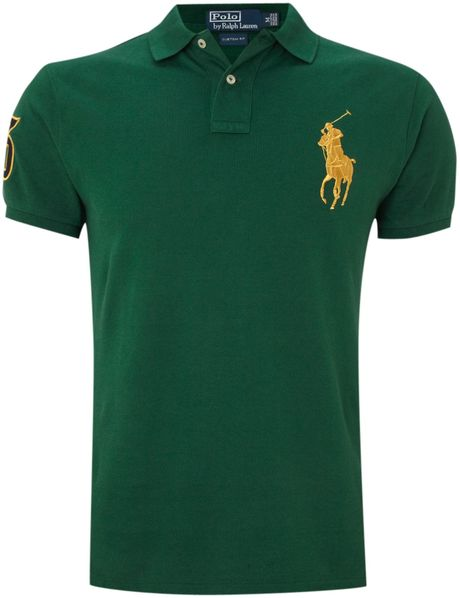 Polo ralph lauren custom fitted gold big pony polo shirt for Forest green polo shirts