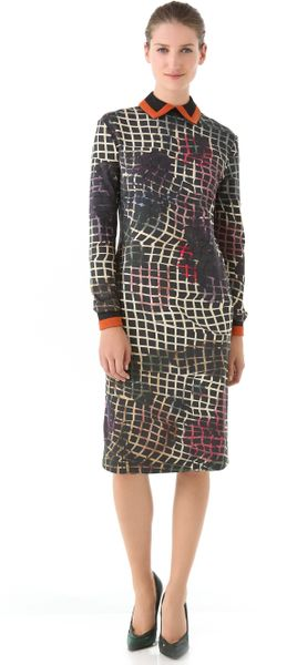 Preen Collared Jersey Dress in Multicolor - Lyst