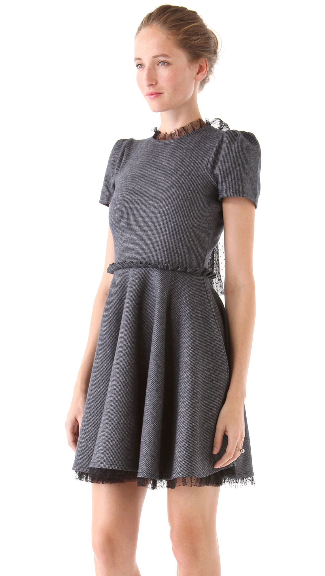 Red valentino Tie Neck Sweater Dress in Gray | Lyst