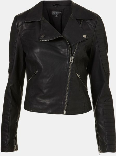 Topshop Maddox Faux Leather Jacket in Black | Lyst