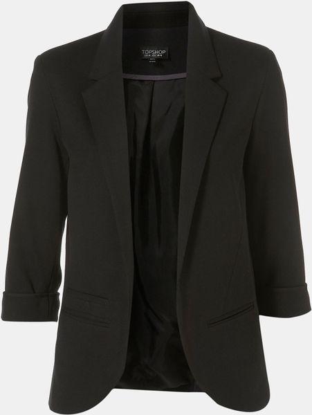 Topshop Monty Ponte Blazer in Black