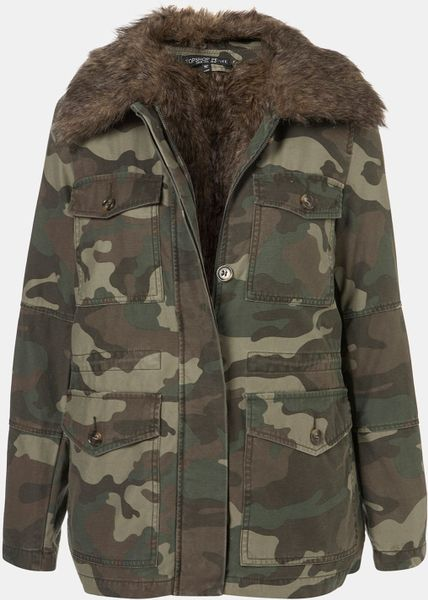 Topshop Faux Fur Lined Camo Utility Jacket In Green Khaki