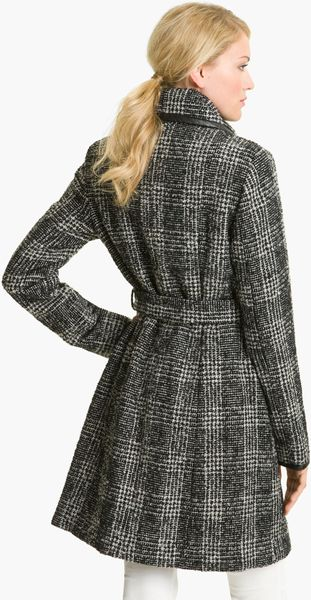 Vince Camuto Plaid Wrap Coat In Gray Novelty Plaid Lyst