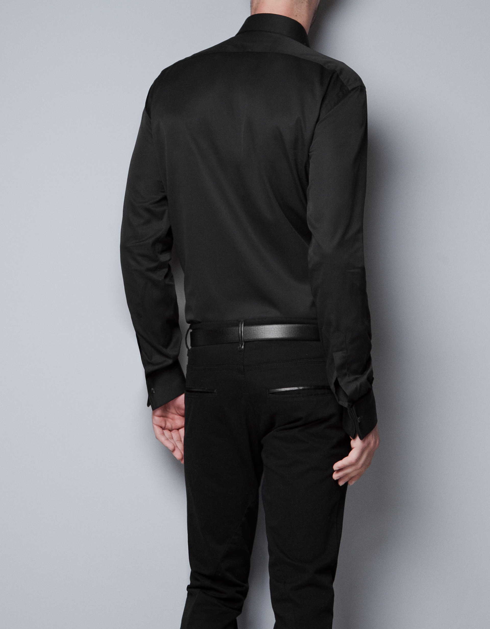 Zara twill shirt with cufflinks in black for men lyst for Dress shirt for cufflinks