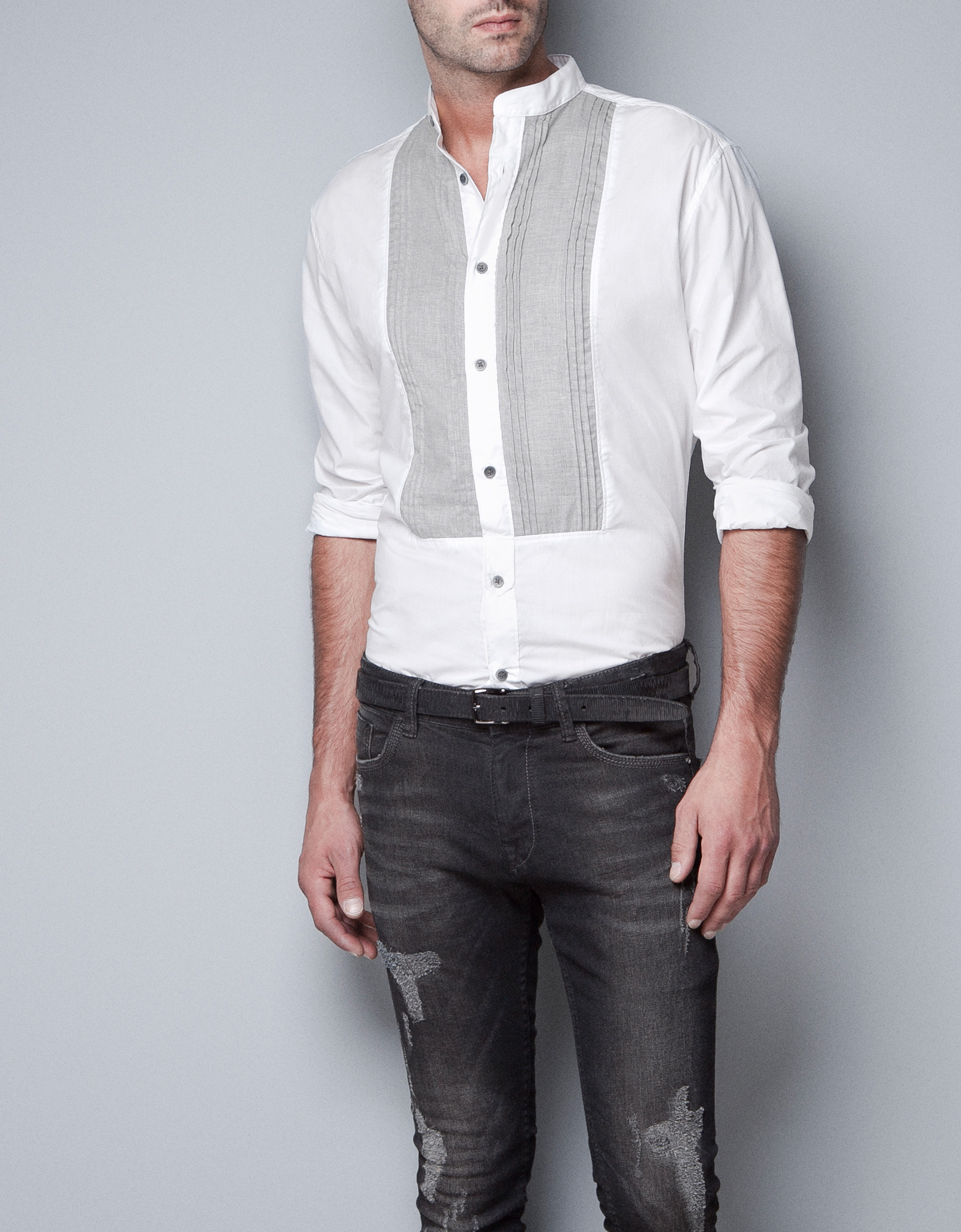 Zara Shirt with Fine Pleated Bib Front in White for Men | Lyst