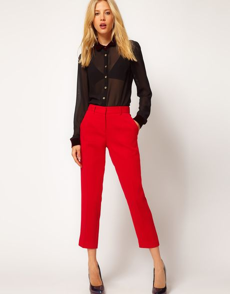 Asos Collection  Crepe Cropped Trousers in Red