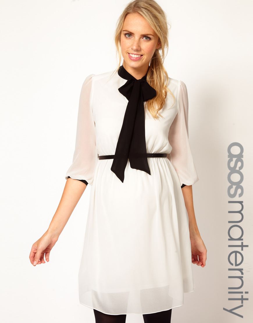 939fca2767 Lyst - ASOS Skater Dress with Pussy Bow Tie in White