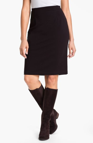 eileen fisher knit pencil skirt in brown chocolate lyst