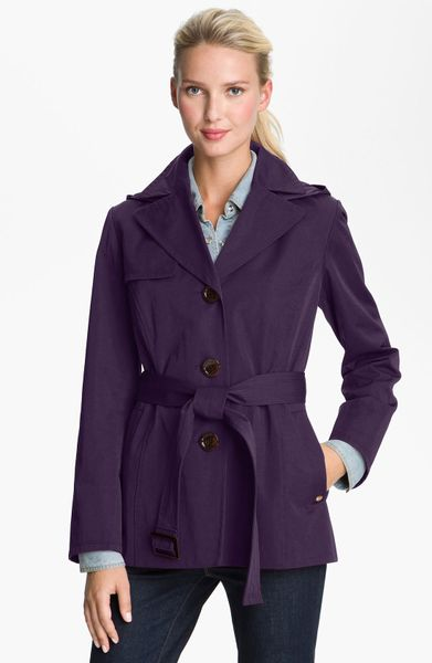 Ellen Tracy Single Breasted Trench Coat in Purple (eggplant) - Lyst