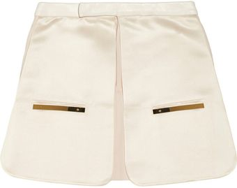 Esteban Cortazar Leather Twill and Duchess Satin Mini Skirt - Lyst
