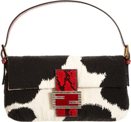 Fendi Python Beaded Baguette Bag in Black