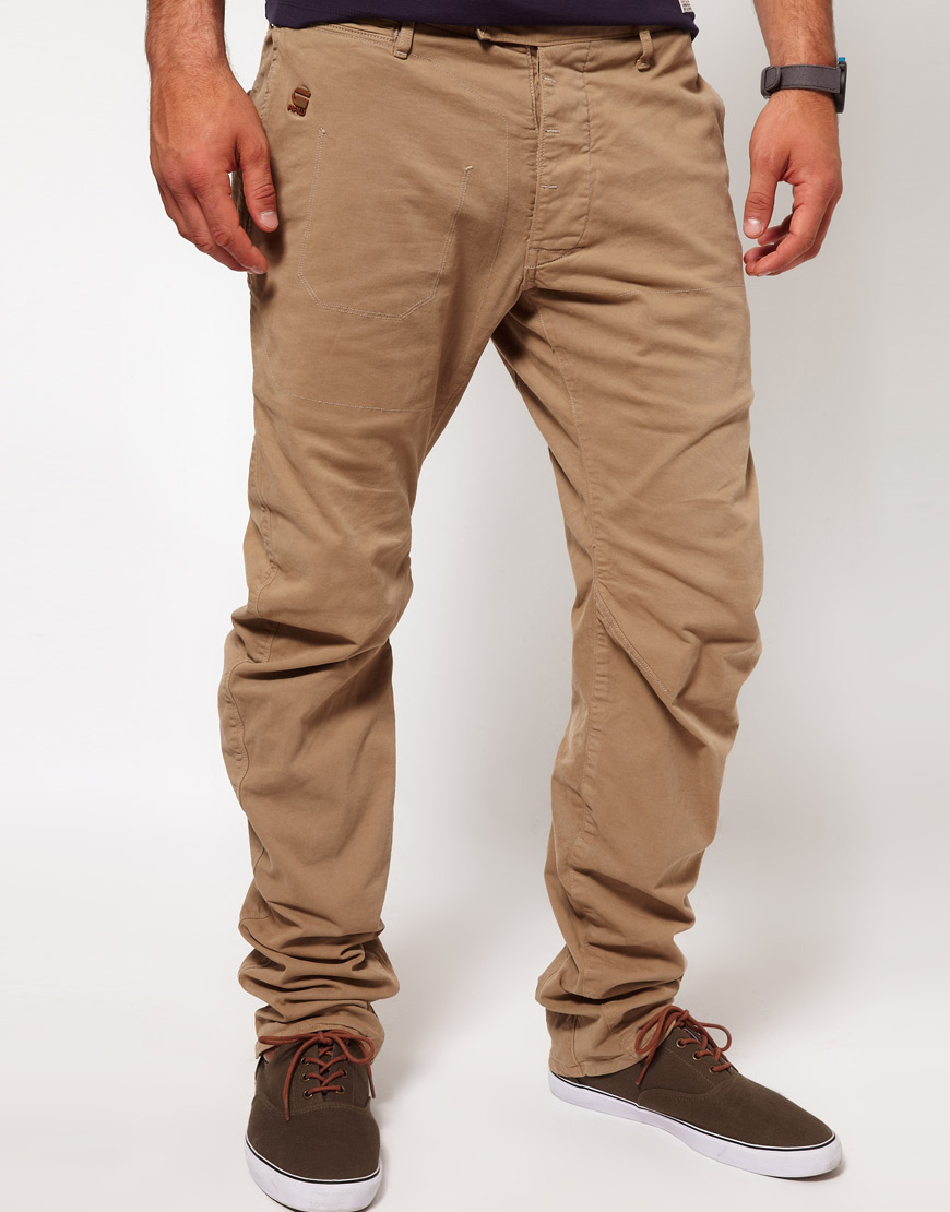 Lyst - G-Star RAW Chinos Tapered Fit Omega Arc in Natural for Men 70c0db65338c1