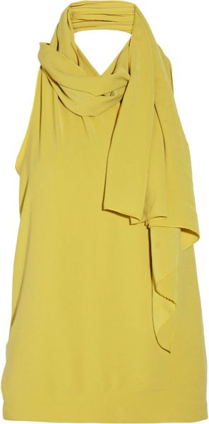 Halston Heritage Draped Crepe Top in Yellow (chartreuse)