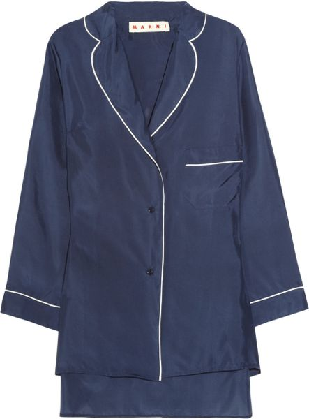 Marni Silk Pajama Shirt in Blue (navy)