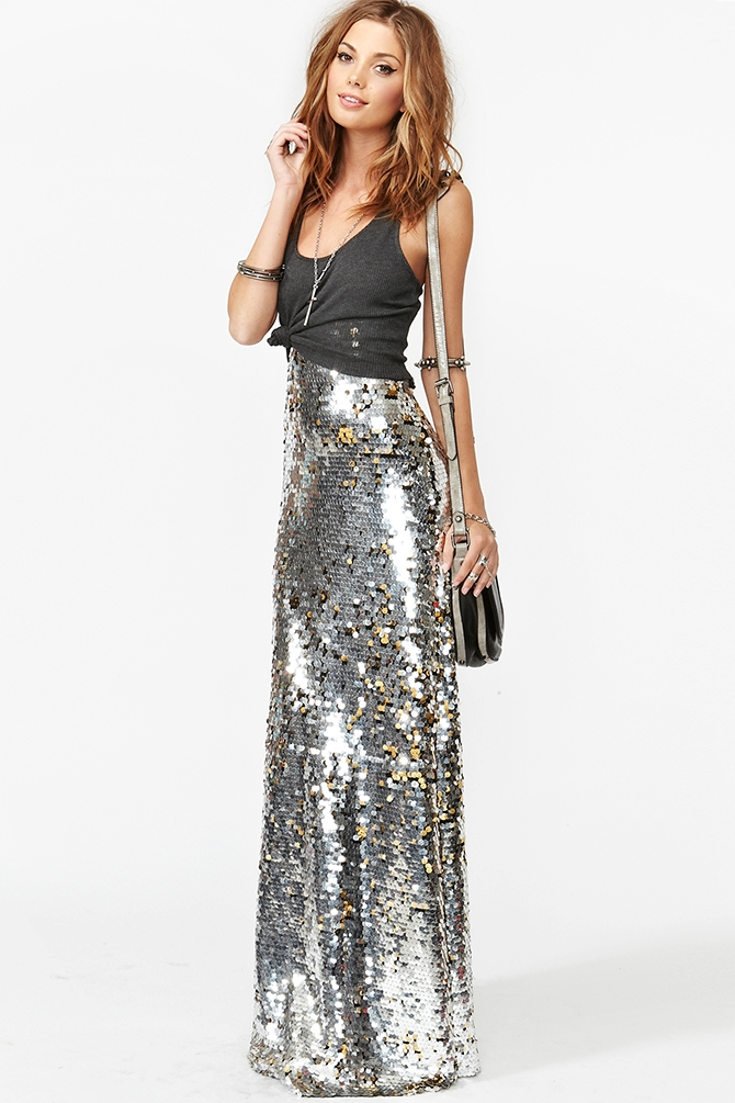 Nasty Gal Gina Sequin Maxi Skirt In Silver Metallic Lyst