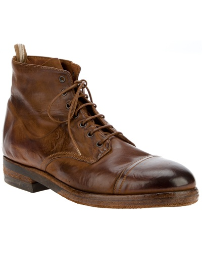 Officine Creative Distressed Ankle Boot In Brown For Men