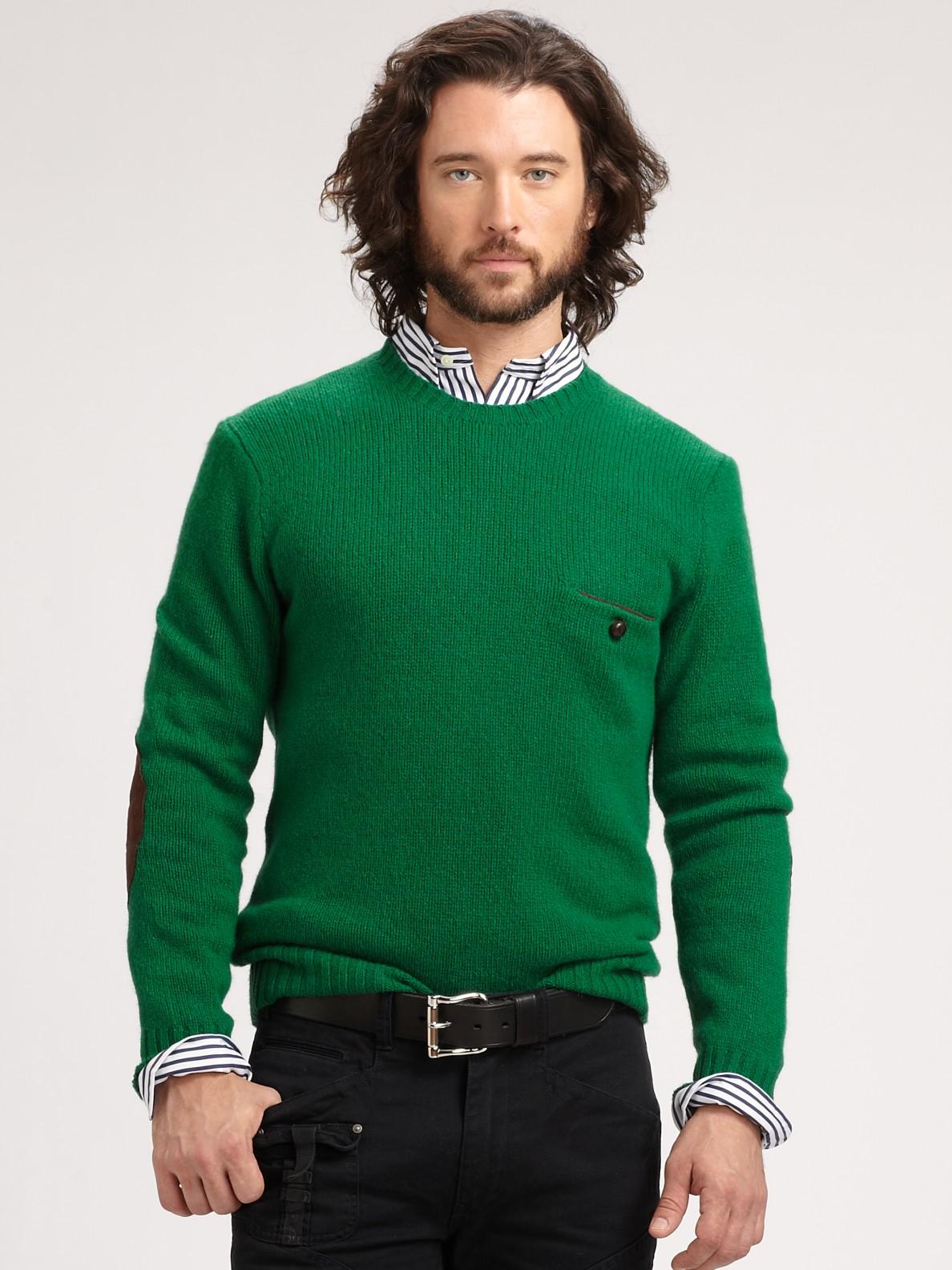Polo ralph lauren Jersey Crewneck Sweater in Green for Men | Lyst