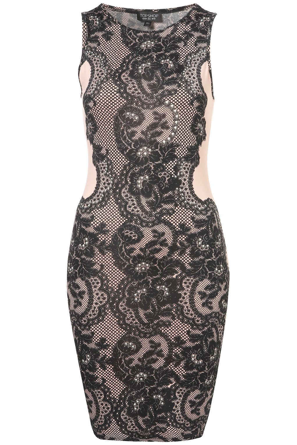 Lyst Topshop Lace And Gem Bodycon Dress In Purple