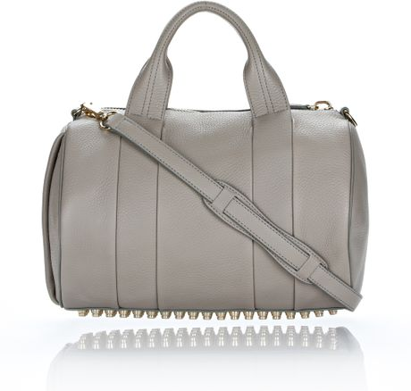 Alexander Wang Rocco in Oyster Soft Pebble Leather with Pale Gold in Gray (oyster) - Lyst