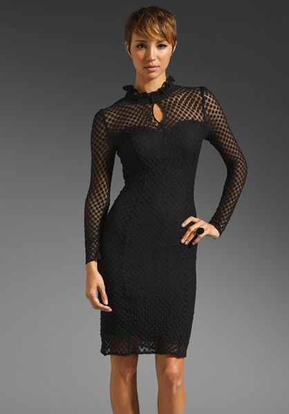 Alice By Temperley Davis Long Sleeve Dress in Blackmidnight in Black (black & midnight) - Lyst