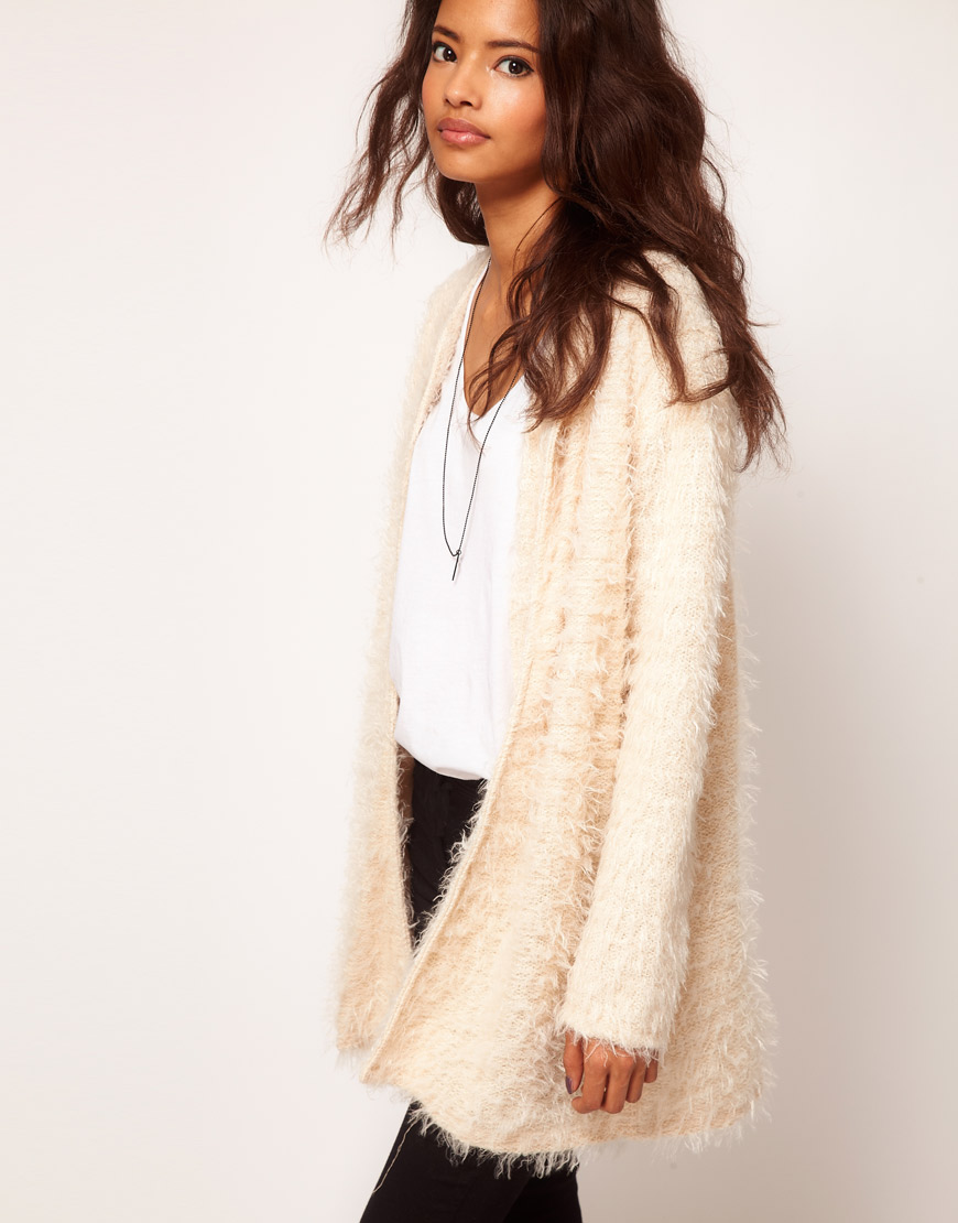 Asos Cardigan in Fluffy Texture in Natural | Lyst