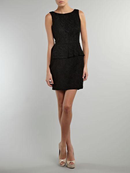 Ax Paris Lace Peplum Dress In Black Lyst