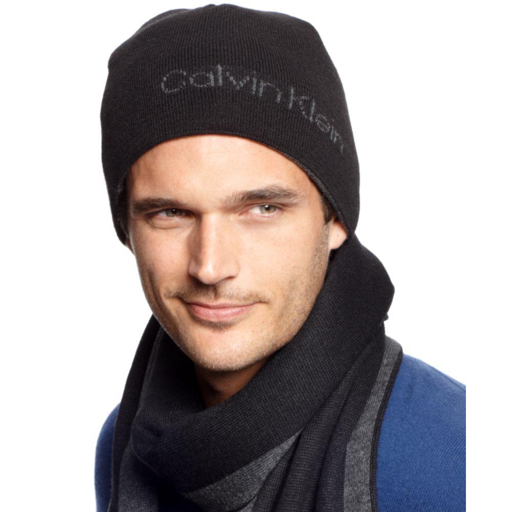 03a711021 Calvin Klein Black Modern Logo Reversible Beanie for men