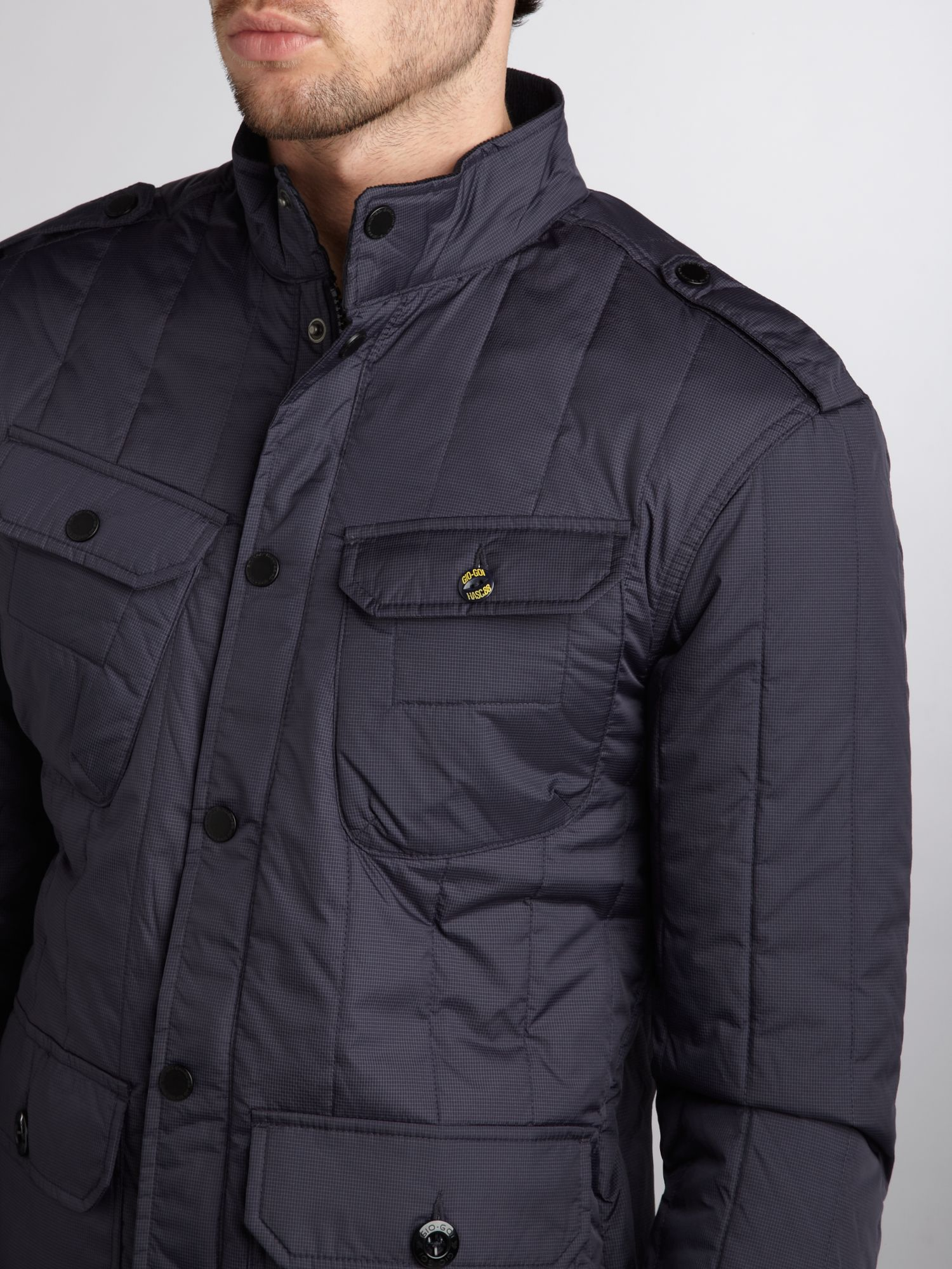 Gio Goi Quilted Striped Jacket in Navy (Blue) for Men