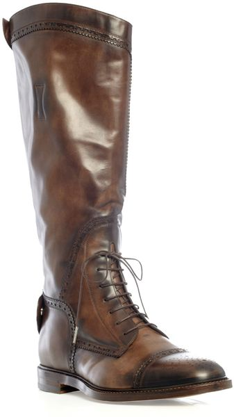 Gucci Brogue Riding Boots in Brown for Men - Lyst