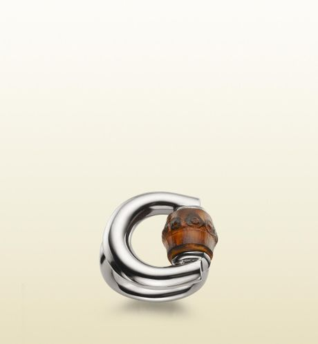 gucci horsebit ring with bamboo detail in silver for