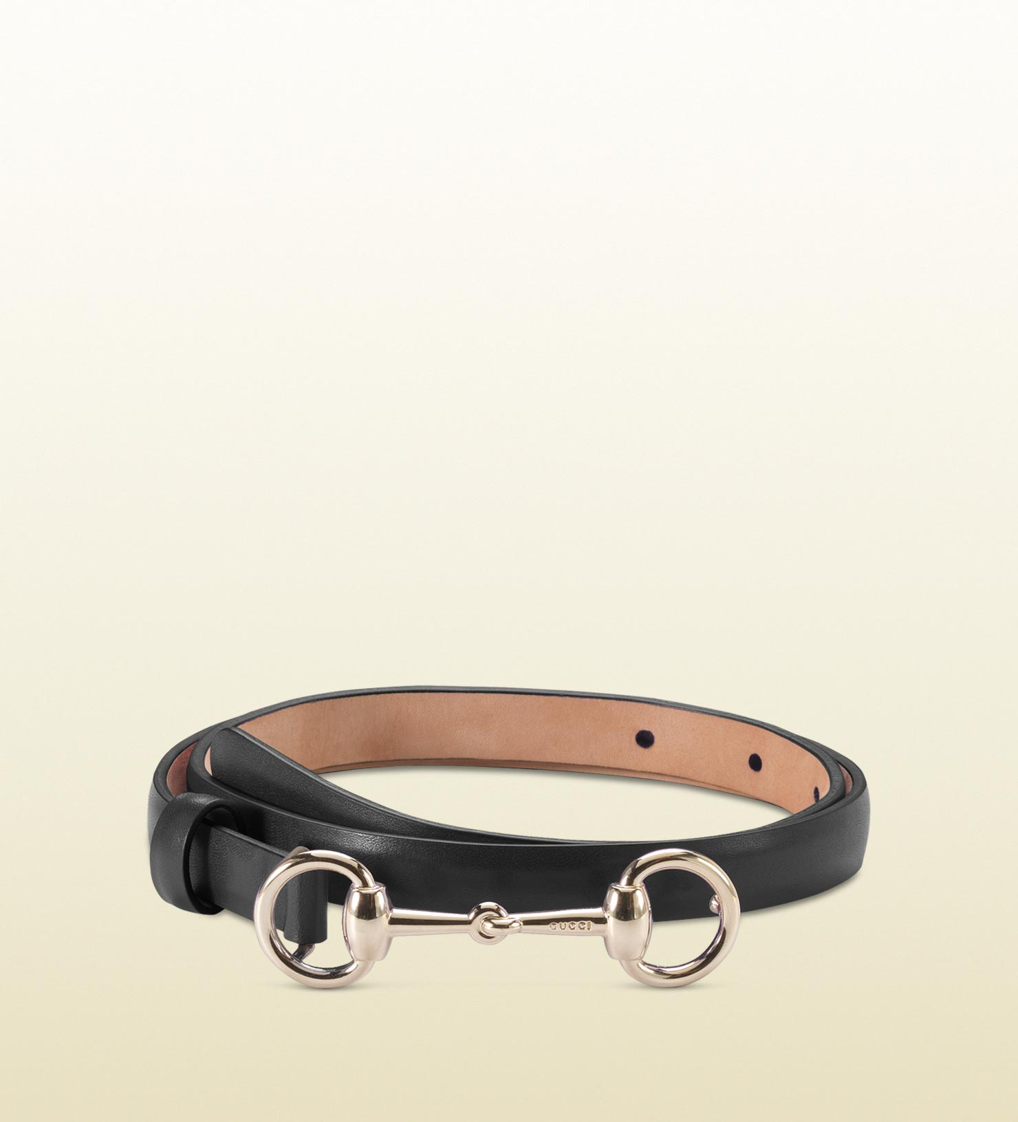 46711bbb5e0 Gucci Leather Skinny Belt With Horsebit Buckle in Black - Lyst