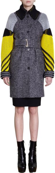 Kenzo Knitted Sleeve Tweed Coat in Gray (grey) - Lyst