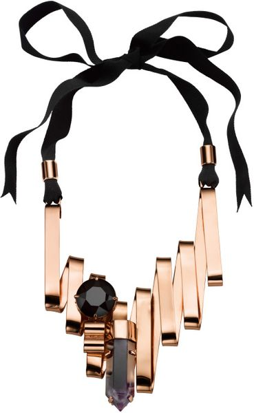 Mawi Fw Amethyst Shard and Large Crystal Necklace On Black Ribbon in Black (rose gold)