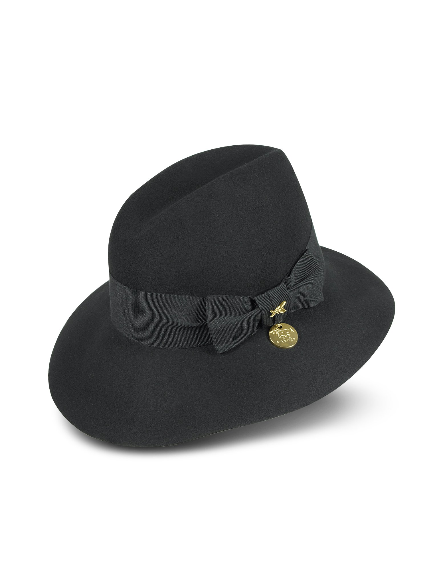 ab28dc16016 Patrizia Pepe Womens Wool Hat with Grosgrain Bow in Black - Lyst