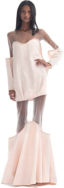 Paula Raia  Long Sleeved Pale Pink Illusion Gown in Pink (pale pink)