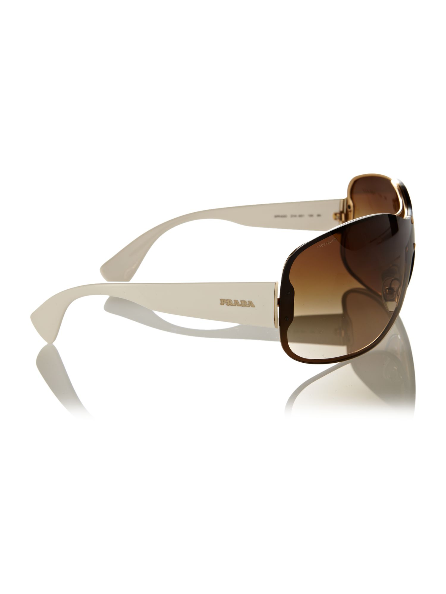 Prada Gold Frame Sunglasses : Prada Ladies Pr63os Logo Gold Sunglasses in Gold Lyst