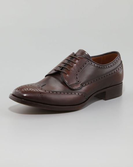 Prada Wing Tip Lace Up Rovere Brown in Brown for Men (null)