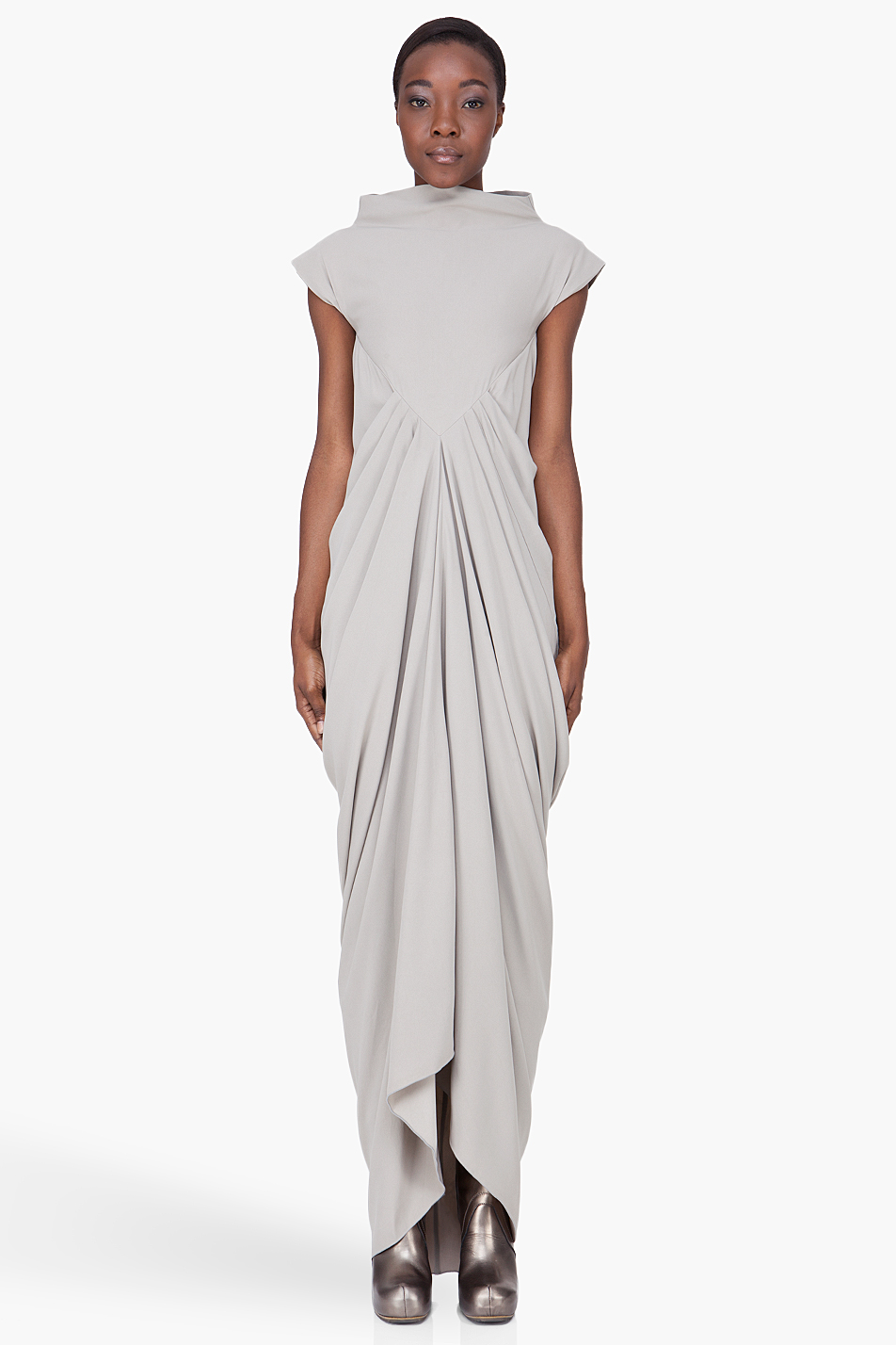Lyst Rick Owens Long Grey Pleated Dress In Gray