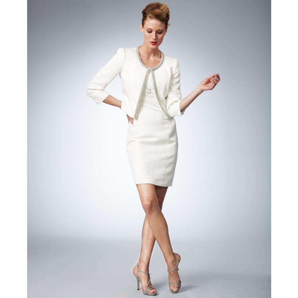 7235b37d Tahari Threequartersleeve Beaded Jacket Sheath Dress in White - Lyst