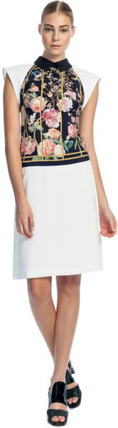 Thakoon Birdcage Print Cross Front Halter Dress in Yellow (black multi/white) - Lyst