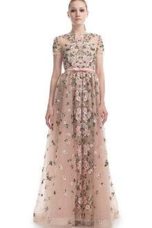 Valentino Resort Floral Embroidered Short Sleeve Evening Gown - Lyst