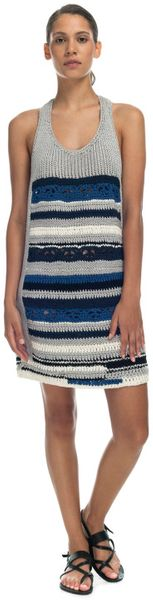 Yigal Azrouël Optic Perforated Cotton Waffle Knit Dress in Gray (grey multi)
