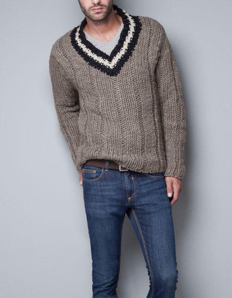 Zara Chunky Sweater in Beige for Men (mink)